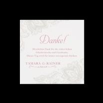 Dankeskarte passend zur klassischen Hochzeitseinladung mit Transparentpapier