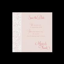 Save-the-Date passend zur romantischen Hochzeitseinladung mit durchbrochener Spitze