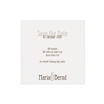 Save-the-Date passend zur Hochzeitseinladung auf Packpapier mit Jute-Banderole