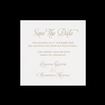 Save-the-Date passend zur  Hochzeitseinladung in einer Hülle aus Packpapier