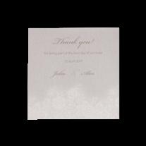 Dankeskarte passend zur klassischen Hochzeitseinladung in Altweiß