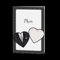 Menükarte passend zur Hochzeitseinladung mit Herzen