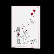 Menükarte passend zur runden Hochzeitseinladung mit lustigen Icons