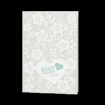 Menükarte passend zur Hochzeitseinladung mit zwei Herzen