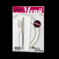 Menükarte passend zur modernen Hochzeitseinladung im Magazin-Stil