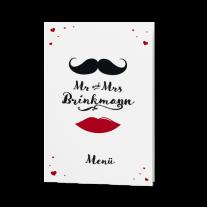 Menükarte passend zur hippen Mr. & Mrs. Hochzeitseinladung