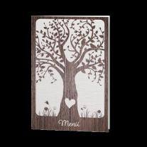 Menükarte passend zur Hochzeitseinladung mit Ausschnitt im Baumstamm