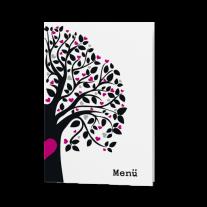 Menükarte passend zur modernen Hochzeitseinladung mit Baum aus Herzen