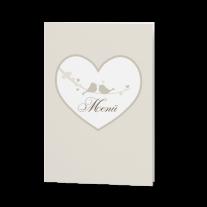 Menükarte passend zur lieblichen Hochzeitseinladung mit großem Herzen