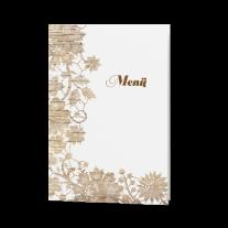 Menükarte passend zur Hochzeitseinladung mit Blumen auf Holzmotiv