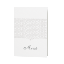 Menükarte passend zur stilvollen Hochzeitseinladung in Perlmutt-Banderole