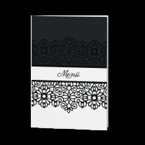 Menükarte passend zur luxuriösen Hochzeitseinladung in stilvollem Schwarz-Weiß