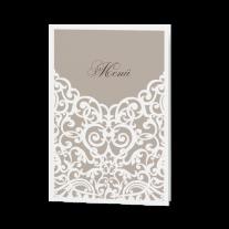Menükarte passend zur Hochzeitseinladung mit Barockaufdruck