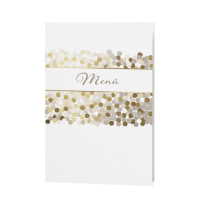 Menükarte passend zur Hochzeitseinladung mit Punkten und Glitzer