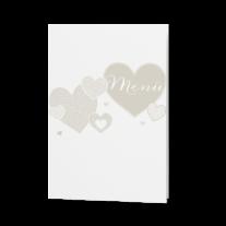 Menükarte passend zur modernen Hochzeitseinladung mit Kreativem Herzausschnitt