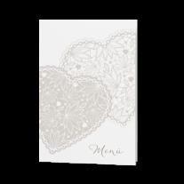Menükarte passend zur perlmuttweißen Hochzeitseinladung