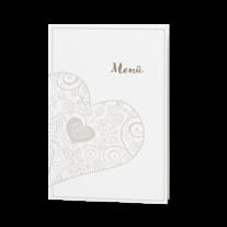 Menükarte passend zur Hochzeitseinladung mit zierlichem Herzausschnitt