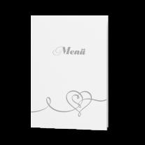 Menükarte passend zur Hochzeitseinladung mit Magnetverschluss und Herz