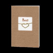 Menükarte passend zur hippen, typographischen Hochzeitseinladung auf Packpapier