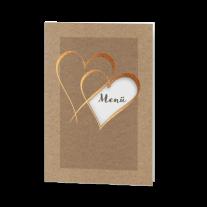Menükarte passend zur Hochzeitseinladung mit Herzen und Schleife