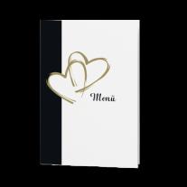 Menükarte passend zur Hochzeitseinladung mit herausragenden Herzen