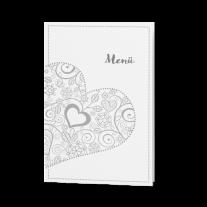 Menükarte passend zur Hochzeitseinladung mit Herzen und Einschubblatt
