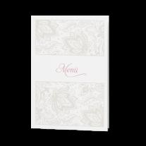 Menükarte passend zur klassischen Hochzeitseinladung mit Transparentpapier