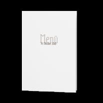 Menükarte passend zur Hochzeitseinladung auf Packpapier mit Jute-Banderole