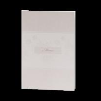 Menükarte passend zur klassischen Hochzeitseinladung in stilvollem Altweiß