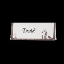Tischkarte (6 Stk.) passend zur Hochzeitseinladung mit Ausschnitt im Baumstamm