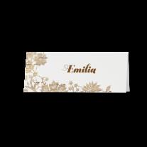 Tischkarte (6 Stk.) passend zur Hochzeitseinladung mit Blumen auf Holzmotiv