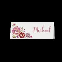 Tischkarte (6 Stk.) passend zur Hochzeitseinladung mit Banderole und Blumen