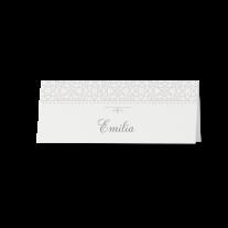 Tischkarte (6 Stk.) passend zur stilvollen Hochzeitseinladung in Perlmutt-Banderole
