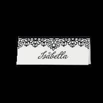 Tischkarte (6 Stk.) passend zur luxuriösen Hochzeitseinladung in stilvollem Schwarz-Weiß