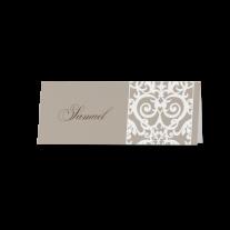 Tischkarte (6 Stk.) passend zur Hochzeitseinladung mit Barockaufdruck und Band