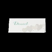 Tischkarte (6 Stk.) passend zur modernen Hochzeitseinladung mit Kreativem Herzausschnitt