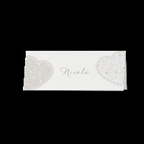 Tischkarte (6 Stk.) passend zur perlmuttweißen Hochzeitseinladung