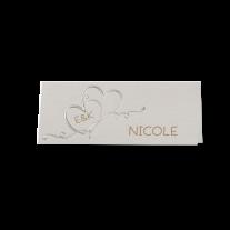 Tischkarte (6 Stk.) passend zur romantischen Hochzeitseinladung auf Perlmuttpapier
