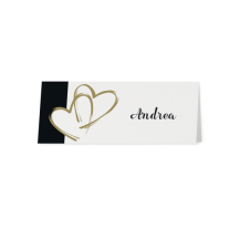 Tischkarte (6 Stk.) passend zur Hochzeitseinladung mit herausragenden Herzen