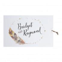 """Moderne Hochzeitseinladung im """"Bohemian Style"""" mit Federmotiv und Lederbändchen (727005)"""