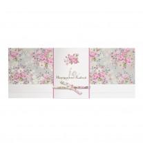 Romantische Hochzeitskarte mit Blumen und Papierwickel mit Bändchen im Blumenmotiv (727010)