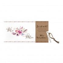 Ausziehkarte mit Blumenstrauß und dreifarbigem Strick (727011)