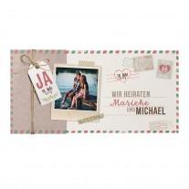 Einschubkarte mit Umschlag und Kärtchen an natürlichem Strick und Polaroidfoto (727013)