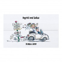 Lustige Hochzeitskarte in origineller Faltung mit fröhlichem Brautpaar im Auto (727017)