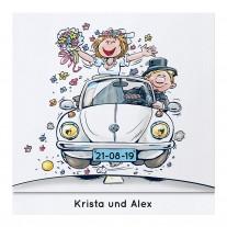 Fröhliche Aufklappkarte mit lustigem Brautpaar im VW-Käfer (727018)