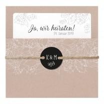 Elegante Hochzeitskarte mit Umschlag aus Packpapier und Strick mit Kärtchen (727024)