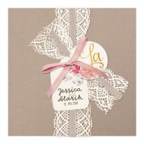 Hochzeitskarte im Vintage-Look mit Spitze und Juteband mit rosa Schleife (727030)