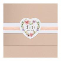 Elegante Hochzeitseinladung mit Papierwickel und Blumenmotiv und Satinbändchen (727036)