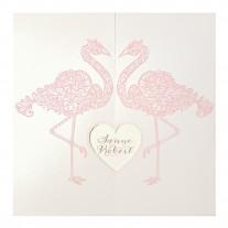 Romantische Hochzeitskarte mit zarten Flamingos und ausgeschnittenem Herz (727037)