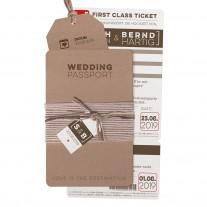 Originelle Hochzeitskarte als Pass einschließlich Boardkarte und Gepäckanhänger (727038)